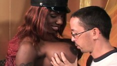 Huge breasted black police woman gets drilled deep by a horny white guy
