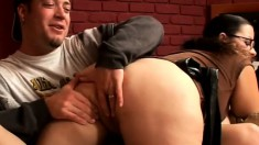 Huge breasted milf gets on top of a young stud and rides his hard dick