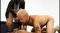 Sex goddess Mika Tan enjoys spanking her blond boy toy's firm butt