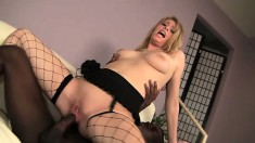 Sweet college blonde with big boobs happily takes a huge black rod deep in her peach
