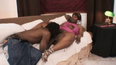 Black babe with gigantic thighs gets pounded down to the balls