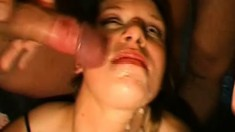 Horny MILFs open wide to be fed by loads of freshly milked cum