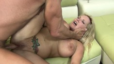 Rachel Love uses her mouth and big titties on his dick and gets a facial