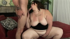 Hefty bitch Angie Luv gives head and gets her fat twat hammered