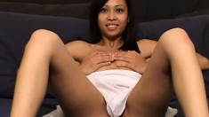 Hope Serey sits with her legs open to the camera showing her little bush