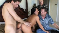 Hot Rachel Ryder has sex with a hung stranger in front of her husband