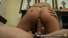 Mason jumps on top of him and bounces on that big cock with great excitement