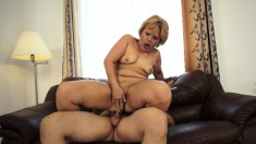 Slutty blonde mature lady takes a young man's big dick for a wild ride