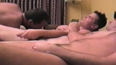 Horny gay buddies with hard cocks indulging in an exciting anal orgy