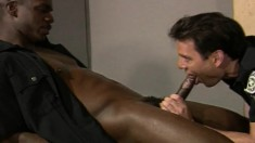 Interracial gay cops exploring their anal desires in the locker room