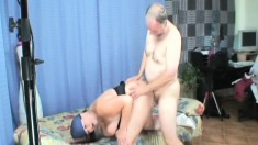 Naughty granny with huge tits has a dirty old man fucking her snatch