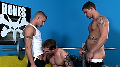 Working out at the gym makes this trio of buff boys horny, so out come the cocks