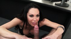 Stacked milf Dayton Rains works her lips and her peach on a long dick