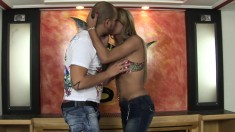 Busty shemale escort gets picked up and pounded hard by a lustful guy