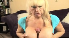 Huge breasted Shelly drops to her knees and pleases a long pole in POV