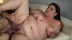 Lustful plumper has her hung lover eating out and hammering her pussy