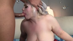 Blonde plumper blows him and he shoves his cock deep into her cunt