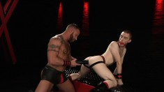 Pale Stud Wearing A Ball Gag Gets His Ass Invaded By A Big Black Dildo And His Own Fist