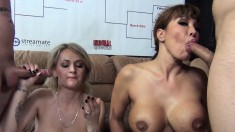 Naughty babes Ava Devine and Natasha Starr engage in a blowjob contest