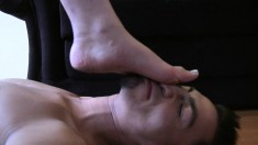 Provoking Blonde Babe With Sexy Legs Sharon Delivers A Sensual Footjob