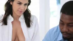 Buxom Brunette Model With A Hot Ass Fulfills Her Interracial Desires