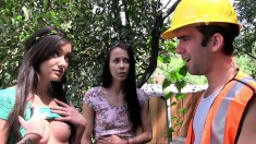 Two Luscious Brunettes Take Turns Fucking A Long Pole In The Outdoors