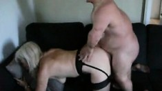 Babe In Stockings Doggystyle Fucked