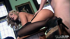 The curvy cougar enjoys the wild sex action and finishes him off with her lips