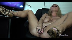 She jams that vibrating dildo in and out of her wet hole and cums