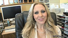 Check out blonde MILFs interview then switch it up with a sexy brunette