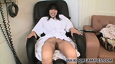 Lovely asian babe gives her man a POV blowjob while they shower