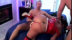 Sexy brunette bimbo with a thing for latex gets fucked hard and fast