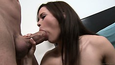 Little Brunette Can Barely Put Her Mouth Around This Huge Fuck Stick