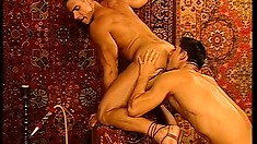 Muscular stud gets some oral love from a horny jock's tongue