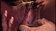 Five ebony chicks use big, fake dicks to satisfy each others tight twats