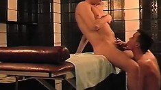 Chubby bloke gets a special happy ending from his hot masseur