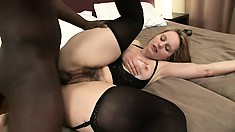 Well-endowed black fucker shows insatiable curvy blonde a good time