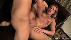Hot blonde makes a guy come by riding his hard rod of pleasure