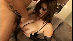 Curvy cougar in a fishnet bodysuit Kianna gets pounded by a young stud
