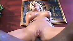 Slutty Staci Thorn gets her ass pumped by a black cock and sucks his load