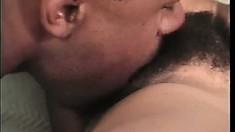 Slender ebony babe Mahogany Sweets has a tight hairy pussy craving for black cock