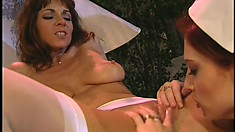 Blonde MILF makes her hot maids play with themselves for her