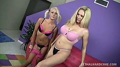 Petite blonde teen hooks up with a mighty fine cougar on the couch