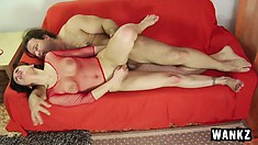 Oksana drills her anal hole with a dildo, paving the way for a big cock