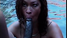 Asian Babe Saki loves dark meat, loves it big and hard and in her mouth