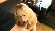 Slender blonde bitch spreads her legs for a big cock injection