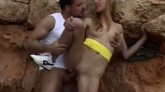 Naughty blonde slut wants people to watch as she rides a dick outdoors