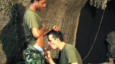 Army recruits Ricco and Frank enjoy some interracial banging