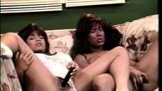Tanned busty bitch in white lingerie and her friend masturbate sweetly