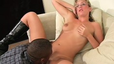 Stacked blonde teacher gets fucked by a hung black student on the sofa